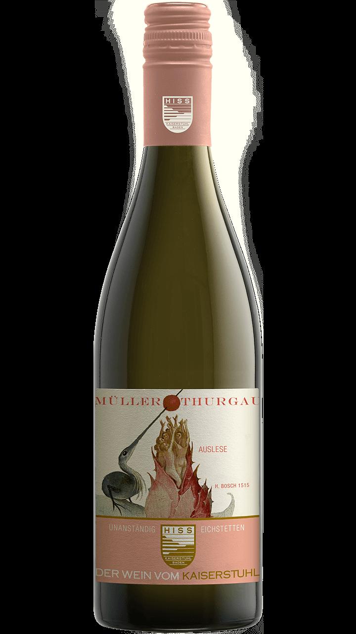 Produktfoto - Müller Thurgau Auslese 2017 aus der Linie Unanständig süß von Weingut Hiss aus Kaiserstuhl, Eichstetten